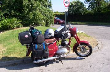 Ian's Jawa motorbike loaded up ready for the journey